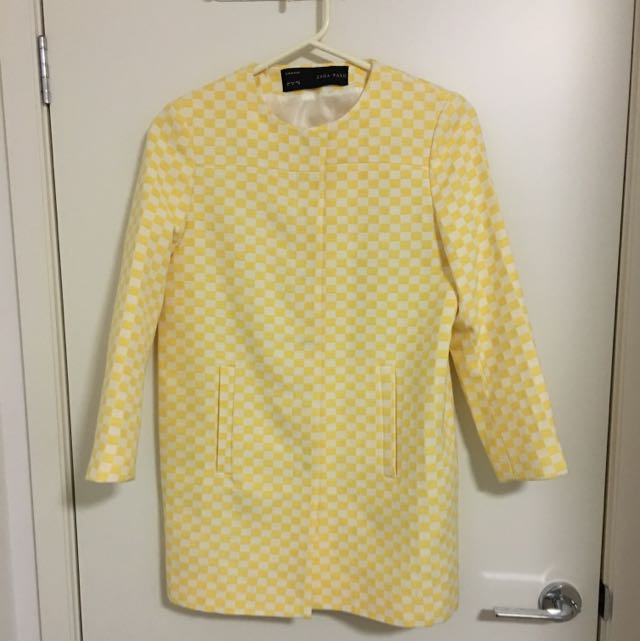 Zara Yellow Checked Jacket Size M