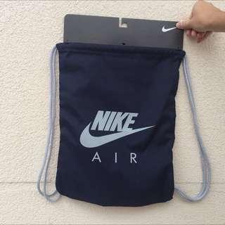Nike 束口袋 海軍藍灰字