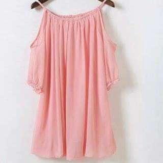 降價-細帶露肩雪紡長上衣👑粉色