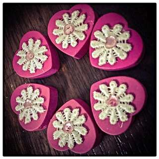(New) Floral Wooden Beads (Deep Pink)