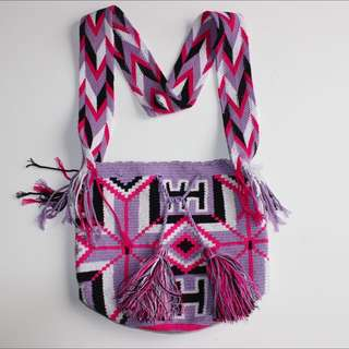 Hand Woven Pink And Purple Aztec Purse