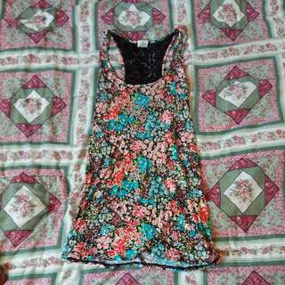 Long Floral Tank W/ Black Lace On Back