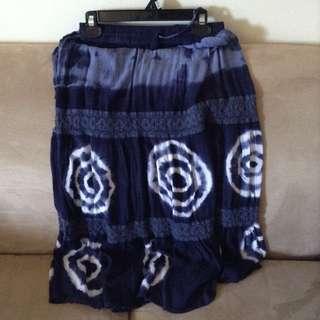 blue tie die maxi skirt