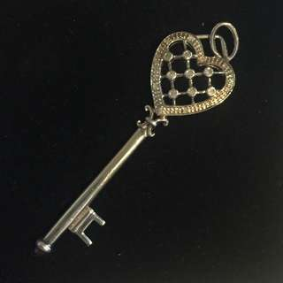 Stirling Silver And Crystal Key Pendant