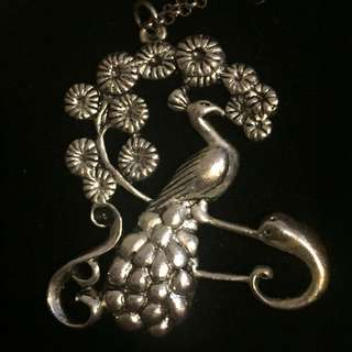 Silver Peacock Pendant With Long Chain