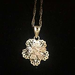 Silver Flower Pendant With Chain