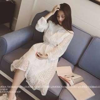 [現貨再降價]韓版高質感蕾絲復古高腰洋裝(附繫帶、超顯瘦、謝師宴、婚禮禮服)