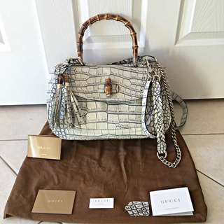 Exotic Gucci Handbag in Grey Crocodile Leather and Bamboo Handle