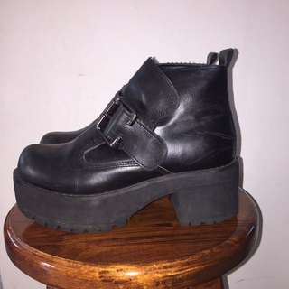 Chunky Black Buckled Boot