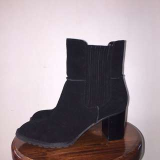 Leather Suede Heeled Boots