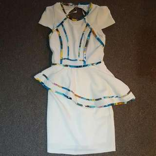 White Dress With Multicolour