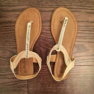 Nude Sandals With Rhinestones - Size 7