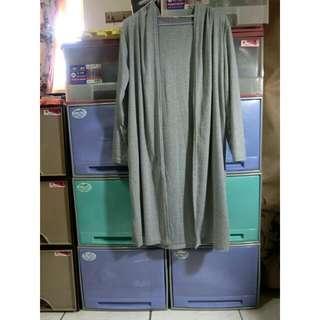 灰色長版薄外套