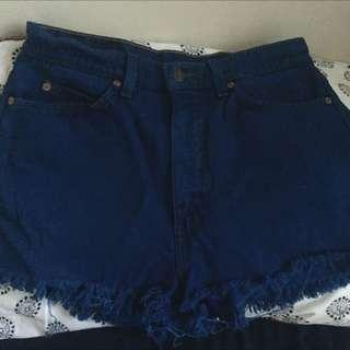 Levis High Waisted Blue Denim Shorts