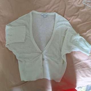 Mango短版白色薄針織