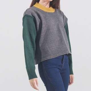 黃綠拼接毛衣