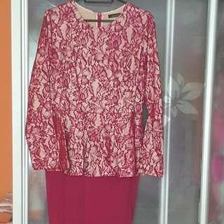 Long Peplum Dress - Dark Maroon