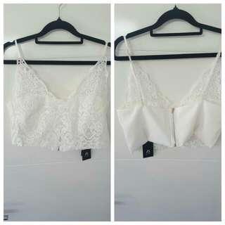 White Lace Bralette Crop Sze 12/14