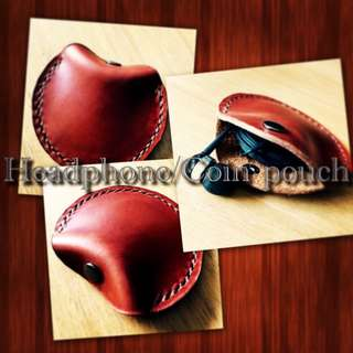 Handcrafted Leather Headphone/Coin Case.