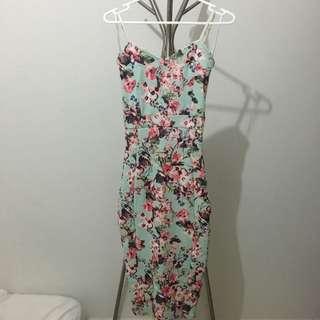 Faye Floral Print Strappy Midi Bodycon Dress