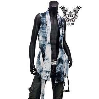 藍白閃耀放射脫序渲染加工自然斗篷款腰身罩衫/薄外套ML3色Ψ iEm 涉谷系愛衣魔 ☆