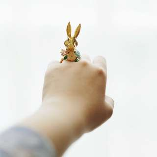 Flowery Bunny Gold Ring