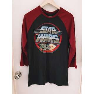 Star Wars星際大戰酒紅接袖棒球t恤