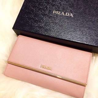 Authentic PRADA Saffiano Metal Wallet In Orchidea