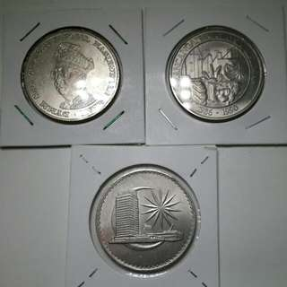 Malaysia 1 Ringgit 1969, 1971, 1990 - 3 Coins
