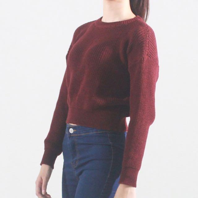 短版針織毛衣