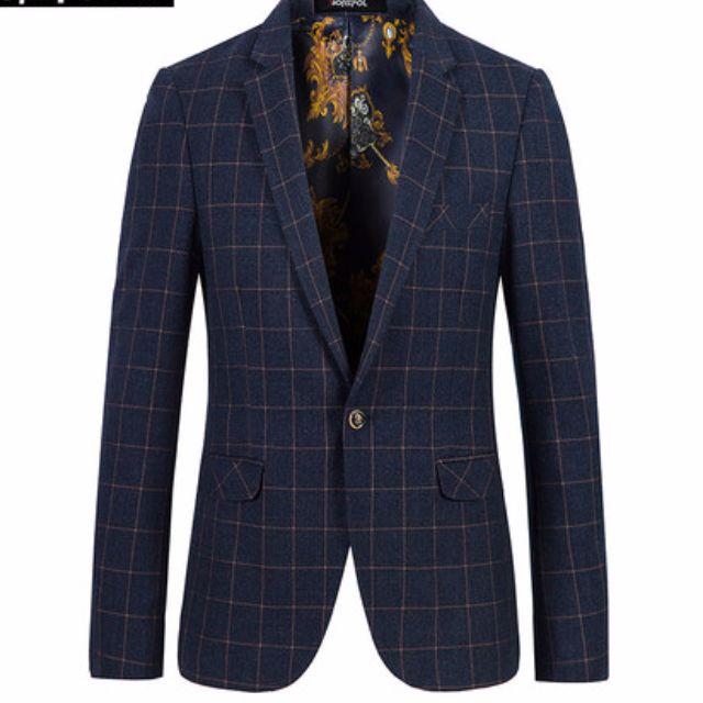 韓版修身正式休閒格紋深藍西裝外套