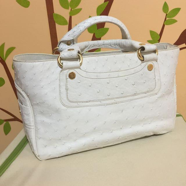 💋今日特價💋正品 Celine 白色駝鳥皮 Boogie Bag 手提包