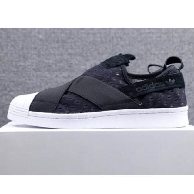 Adidas Superstar Slip ON W 洞洞繃帶 黑色 男女鞋款