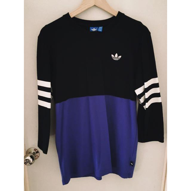 Adidas 黑紫七分袖t