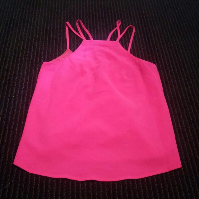 Ally Pink High Front Double Strap Top