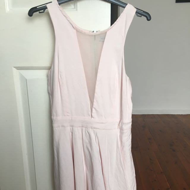 Baby Pink Dress With Sheer Mesh