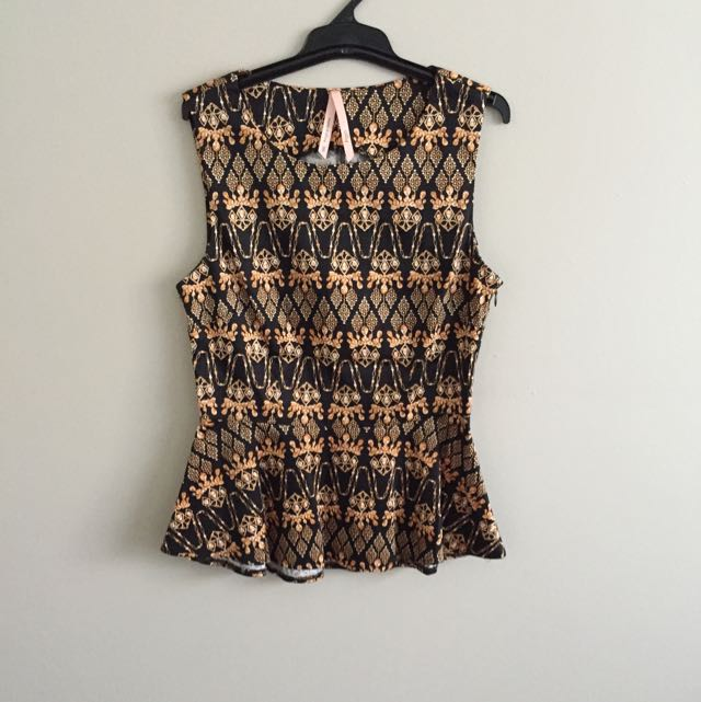 Black And Bronze Pattern Top