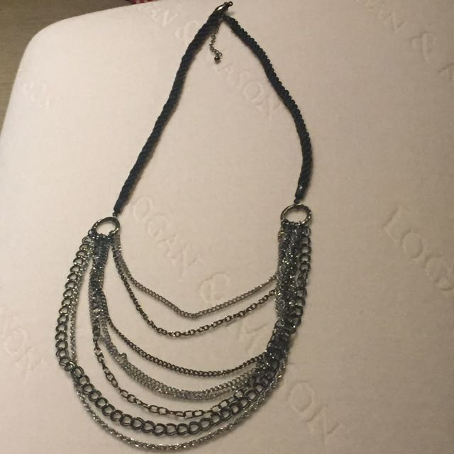 Black And Silver Chain And Rope Necklace