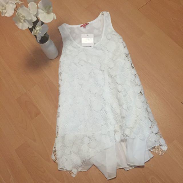 Brand New White Mess Dress Size 8