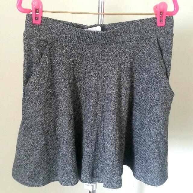 Cotton On Grey Ribbed Skater Skirt