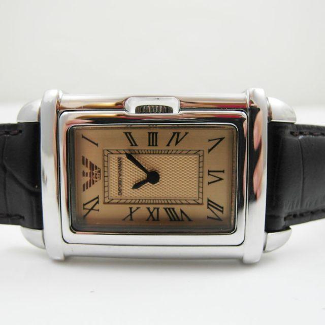 EMPORIO ARMANI 石英錶 方盤羅馬數字真皮壓紋中性錶(AR0259)