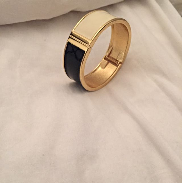 Gold Black & Cream Bangle Bracelet