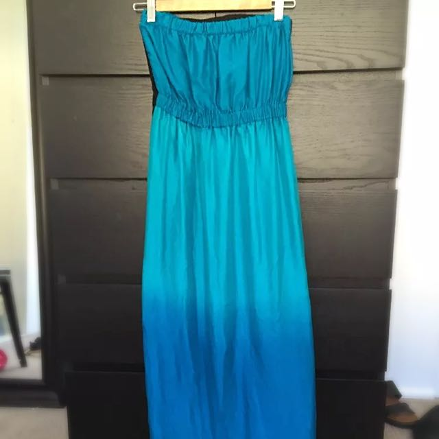 Handmade Silk Strapless Maxi Dress Size 6 Brand New