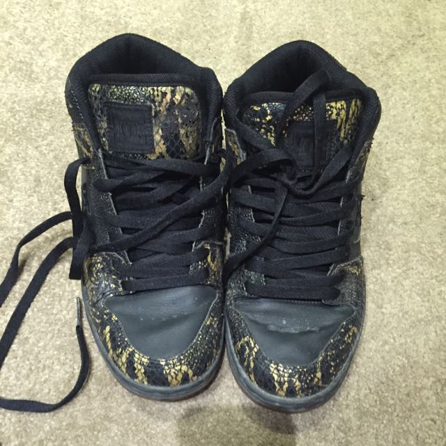 High Top DC Shoes Gold Sneak Leather Size 9