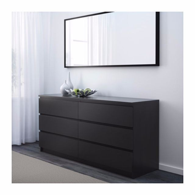 IKEA-抽屜櫃/6抽, 黑棕色(保留中)