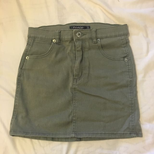 Khaki Denim Skirt