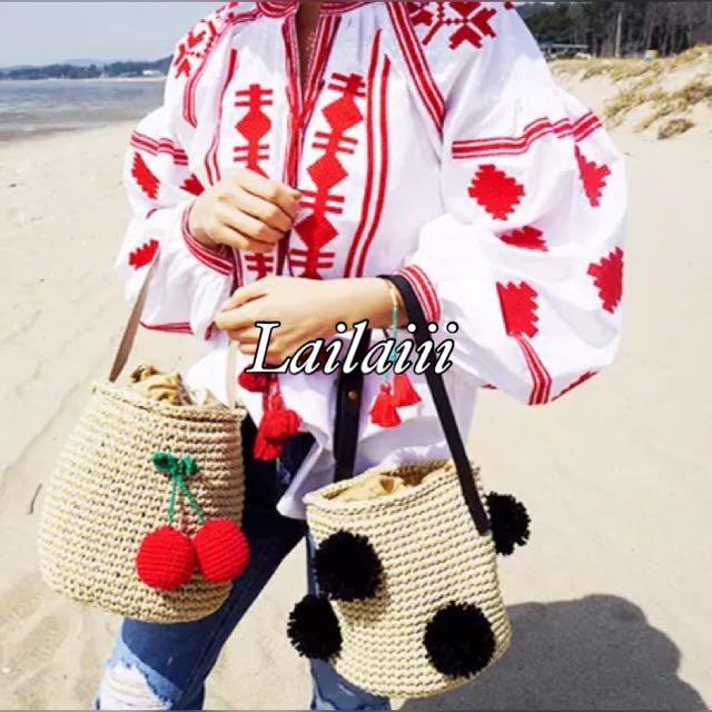 Lailaiii 韓國可愛球球毛球 櫻桃 草編包 藤編 海邊 coolgirl  沙灘包 渡假 夏天 海灘包 水桶包