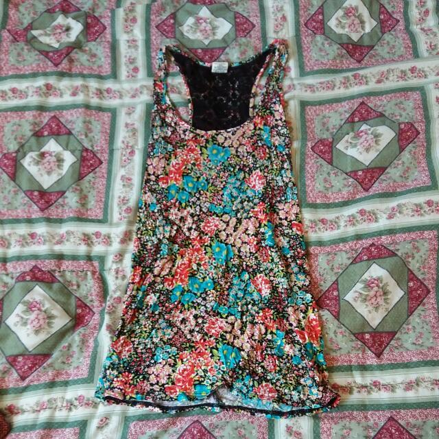 Long Floral Tank W/ Black Lace On Back