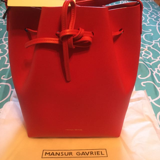 Mansur Gavriel Red Bucket Bag