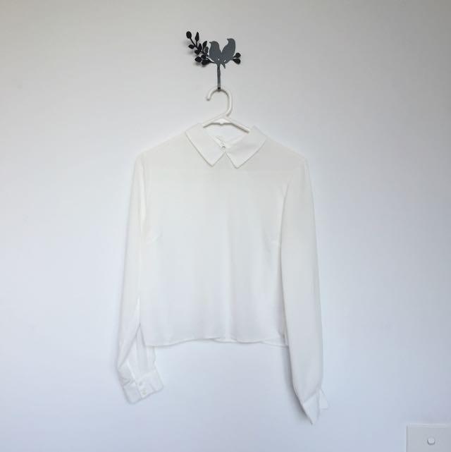 MISS SELFRIDGE White Babydoll Crop Top